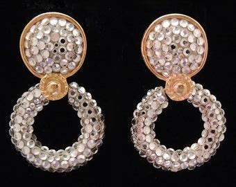RICHARD KERR Earrings, Richard Kerr Rhinestone Drop Earrings, Richard Kerr Hoop Earrings, Vintage Richard Kerr Earring, Richard Kerr Jewelry