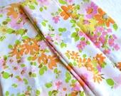 Vintage Pillowcases - Springmaid Orange Pink and Yellow Flowers - Standard Size Pair