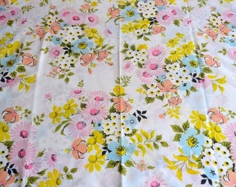 Vintage Pillowcase - Black Accented Pink Blue and Yellow Floral - Standard Size