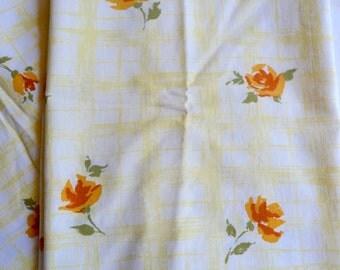 Vintage Pillowcases - All Cotton Farmhouse Yellow Orange Roses - Standard Size Pair