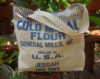 Vintage cotton flour sack tote - Old fashioned flour sack - Flour bag - Gold medal flour - Repurposed flour sack - Market tote - Recycled