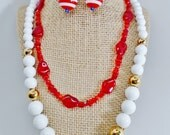 Vintage Sarah Coventry Avon July 4th Celabration Red White Blue Lucite Jewelery Lot of 4 Patriotic Stripes 2 Necklace Earrings 1 Bracelet