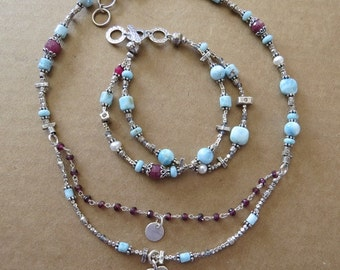 Larimar Necklace and Bracelet with Rubies and Hill Tribe Silver