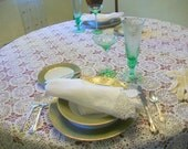 Handmade lace tablecloth  Vintage chic decor  Antique needlework Holiday dinner parties