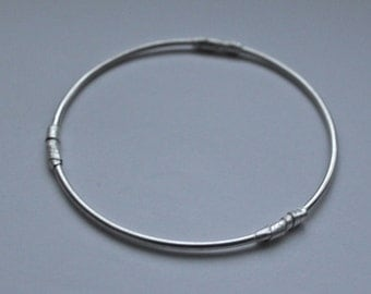 Handmade Sterling Silver Stacking Bangle with Silver Twists