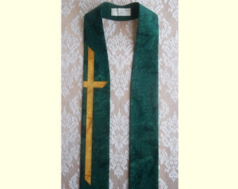 "IMMEDIATE SHIPPING -- Green Clergy Stole for Ordinary Time with Gold Cross --  50"" Length"