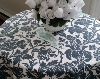 Round tablecloth gunmetal, canal blue barber bird, custom sizes made to order