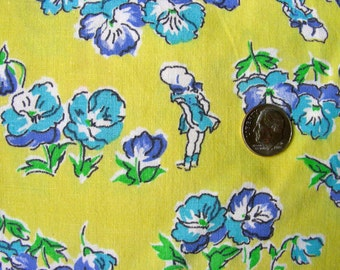 Vintage Feedsack Cotton Novelty Fabric - RARE -  Charming LIttle Girls  on  Yellow Background  - 14 x 32