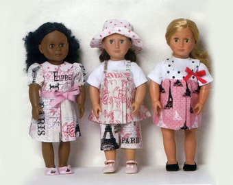 """18"""" Doll Clothes Pattern American Girl Doll Wardrobe Pants Tops Dress Cape Hat Shoes Sundress Play Clothes McCalls 9880 Sewing Pattern"""