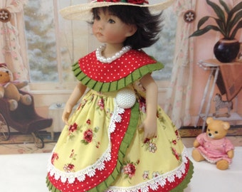 "LIttle Darling ""Roses and Pearls"" dress, hat, necklace and slip fits LD dolls and H4H dolls"