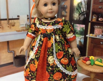 "AG ""Pumpkin Pie"" regency dress, slip, and Cameo necklace made to fit 18 inch dolls similiar to American Girl"
