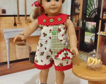 "AG romper and purse  ""The Strawberry Picker"" fits American Girl and similiar 18 inch dolls"