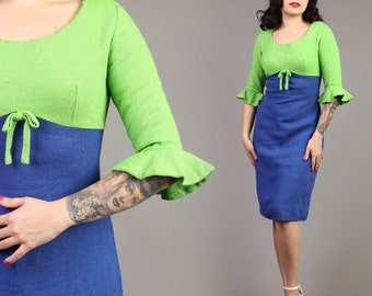 vintage COLOR BLOCK wool bell sleeve wiggle pinup rockabilly secretary vlv dress 1960s 1950s 60s 50s small S