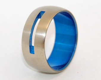 Titanium wedding ring, wedding ring, blue ring, titaniun rings, mens ring, womens rings, eco-friendly - let YOUR LOVE SHINE through