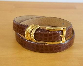 Vintage Brown womens Leather Belt size medium