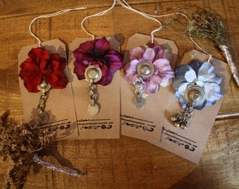 caravan tribal fusion gypsy flower and turkoman button hair clip made to order bridesmaid gift