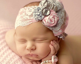 Fabric Flower Rosettes Headband Gray Light Pink White Over the Top Lace Newborn Infant Girl photo prop baby shower gift grey First Birthday