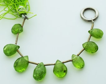 8x10mm Genuine Peridot Gemstone Faceted Briolettes Qty 8