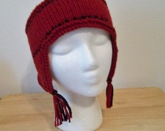 Headband - Handknitted Headband with Earflaps for Winter Times  - Red with Black Stripes and Tassels