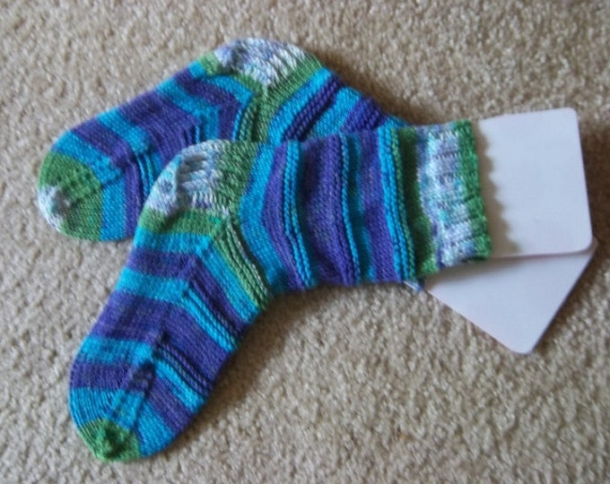 Socks - Handknitted Socks  - Women Size Small 4 - 6.5 US / 35 - 37 EU - Color Aquarelle