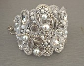 Beautiful cuff bracelet-handmade and unique-ivory or white pearls -bridal jewelry