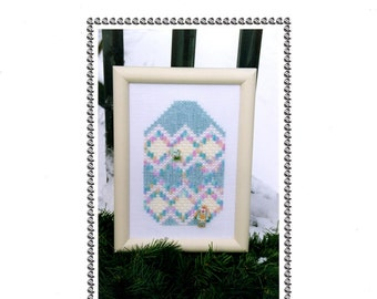 Easter Egg House Zig Zag Diamonds Pastel Spring Colors Wall Hanging Counted Cross Stitch Embroidery Craft Pattern Leaflet