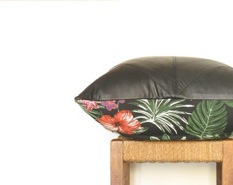 Large Black Leather Cushion  ... Luxe Leather Sofa Pillow with Flamingo Leopard Palm Tapestry