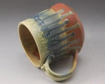 Brick Red Fern and Blue Large Mug Handmade Pottery Porcelain by Mark Hudak