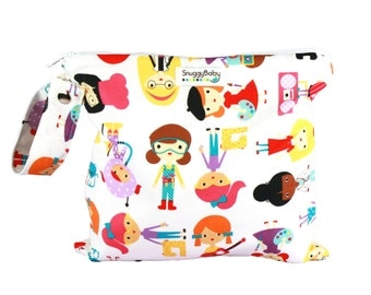 Wet Bag with Zipper Opening and Snap Open Handle - Girl Power - FAST SHIPPING