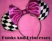 Checkered Mickey Mouse Ears with Pink Bow made to match Cheshire Cat Vans
