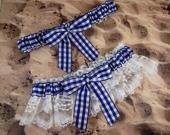 Royal Blue Barn Wedding Gingham Check White Lace Wedding Garter Bridal Toss Set