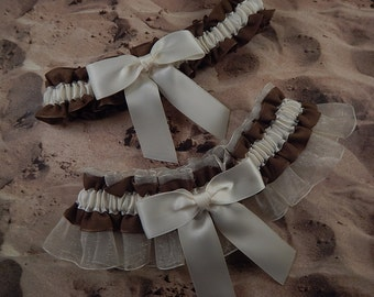Brown LInen Look Ivory Satin Ivory Organza Wedding Bridal Garter Toss Set