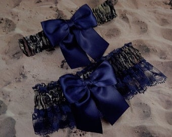 Camo Camouflage Navy Blue Ribbon Navy Blue lace Wedding Bridal Garter Toss Set