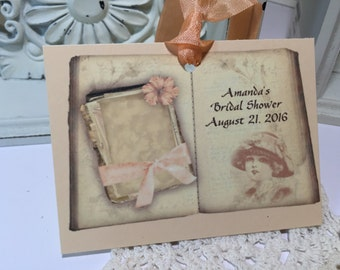 Bridal Shower Tags Vintage Style Book Bride to Be Vintage Book Peach Favor Tags Set of 10