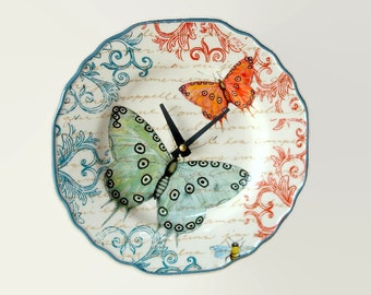 "NEW!  9"" Colorful Butterfly SILENT Wall Clock, French Clock, Butterfly Clock, Ceramic Plate Clock, Butterfly Wall Decor, Kitchen Clock  2011"