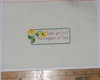 Vintage Cross Stitch Bible Verse Seek Ye First the Kingdom of God Matthew Ready to Frame Pillow Supply  Christian Wall Art