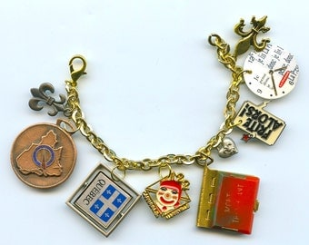 French Quebec Collectible Items Handmade Charm Bracelet With Vintages Collectibles Mont Tremblant