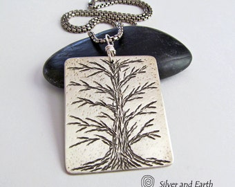 Sterling Silver Tree Necklace, Tree of Life Jewelry, Solid Silver Jewelry, Handmade Artisan Nature Jewelry, Nature Gift, Naturalist Jewelry