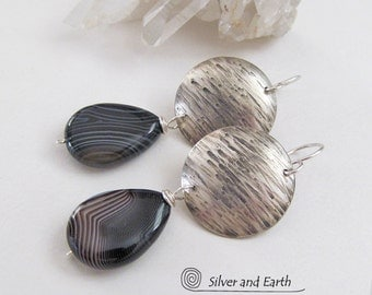 Banded Agate Earrings, Sterling Silver Earrings, Handmade Artisan Modern Silver Metalwork Jewelry Black Gemstone Earrings Everyday Jewelry