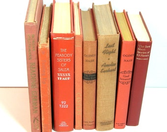 Orange Books, Instant Library Vintage Book Collection Home Decor Assortment