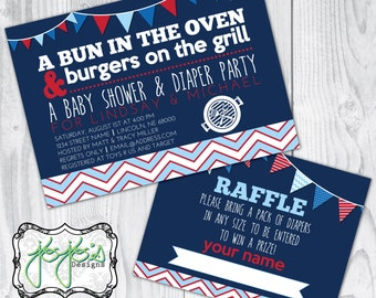 Bun in the Oven, Burgers on the Grill Baby Shower and Diaper Keg Party Invitation, Diaper Raffle Ticket, Red White and Blue (Digital File)