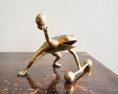 Vintage Strong Frog or Toad Weight Lifting Modern Brass Mid century Figurine Circus