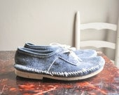 Vintage Blue Suede Shoes Leather Oxford Lace up Mocs Style Womens or Mens