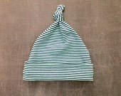 Top Knot Baby Hat - Turquoise and Navy Stripe