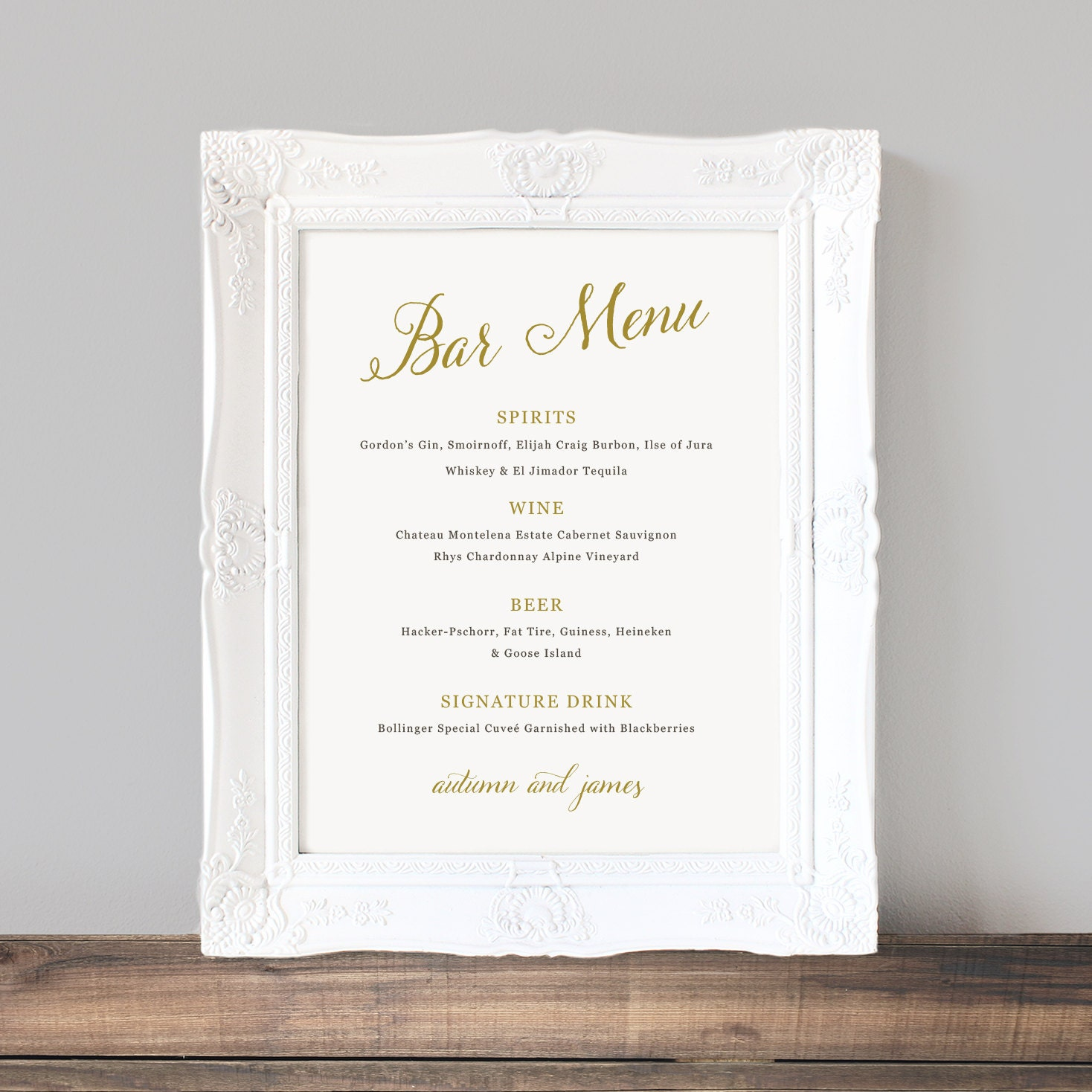 Printable wedding bar menu template wedding bar sign for Wedding drink menu template free