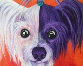 Chinese Crested art print, chinese Crested portrait,  8 x 10 inch print, mexican hairless