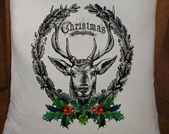 Feed Sack, Flour Sack Bag, Prim Decor, Deer Sack, Country Christmas Decor, Muslin Bag, Vintage Feed Sack, Cotton Sack, Deer w/ Holly Wreath