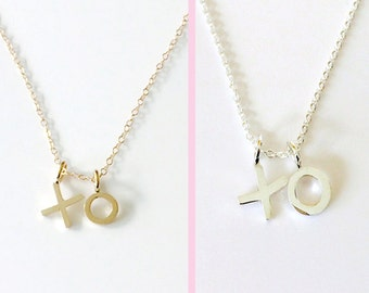 XO Charm Necklace, Silver or Gold Love Charms, Valentine's Day Necklace