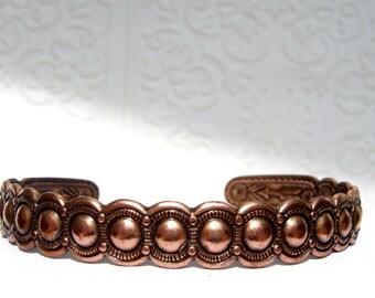 "Vintage Copper Cuff Bracelet  5.5"" + 1"" (gap)"