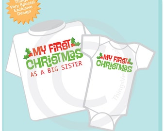Christmas Big Sister Outfit set - Matching Sibling Set of 2 - Kids Matching Outfits - My First Christmas 08022016a